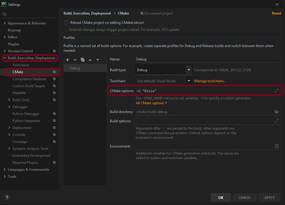 (Build times) Build, Execution, Deployment > CMake > CMake options