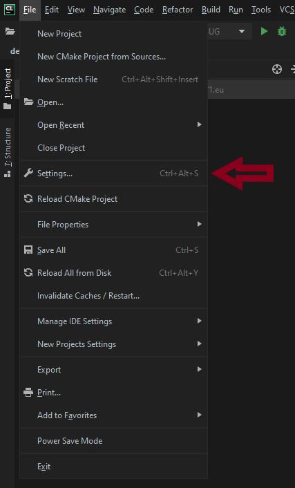 (Build times) File > Settings