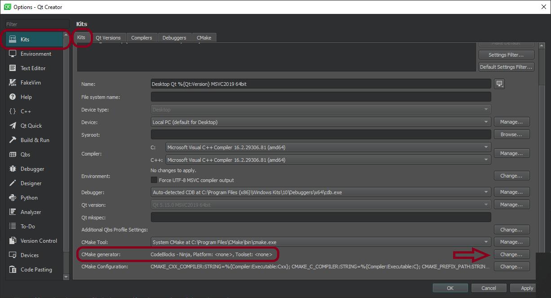 (Build times) Kits > Kit > CMake generator